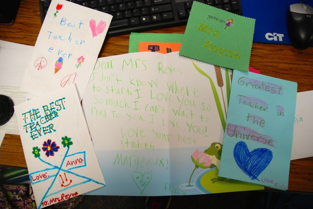 Sweet cards from mom's students.